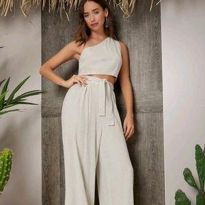 One shoulder Crop Top & Palazzo Belted Pants Set